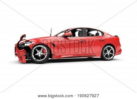 Red car crash on a white background isolated on a white background: 3d rendering