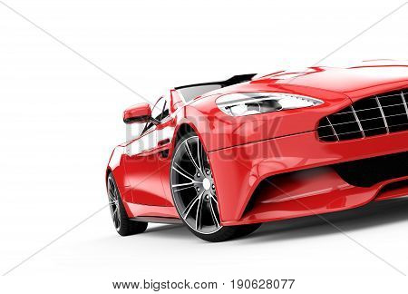 Red luxury car isolated on a white background isolated on a white background: 3d rendering
