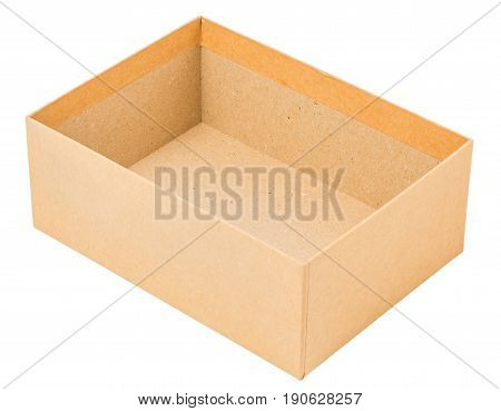 opened cardboard box without cap isolated on white background