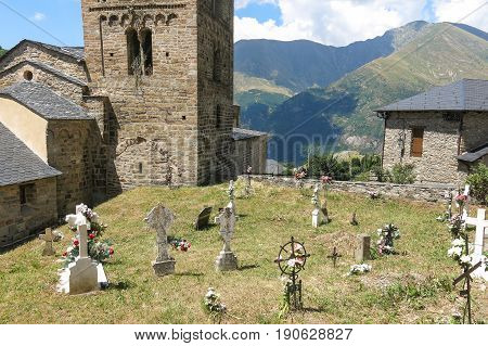 Church Of Durro Example Of Romanesque Art, In The Catalan Pyrenees. Valley Of Bohí In Catalonia, Spa