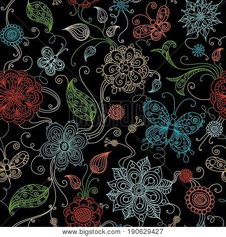Vector Seamless Doodles Floral Pattern.