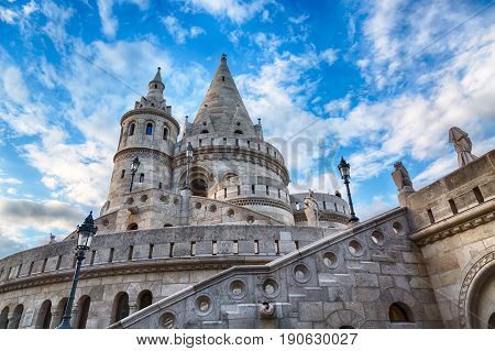 Fishermen's Bastion in Budapest with blue sky and clouds.
