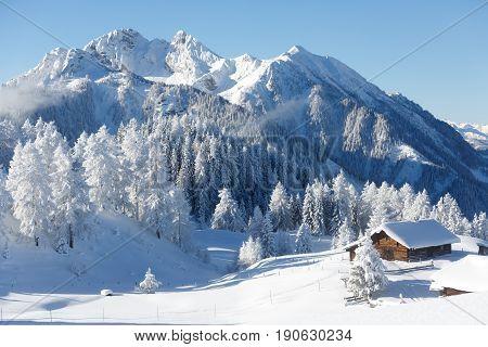 Winter wonderland in the Austrian alps. Sankt Johann im Pongau