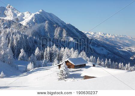 Amazing winter landscape in the Austrian alps