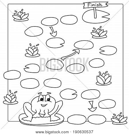 Game template with frogs in field background illustration. Vector coloring book pages for children
