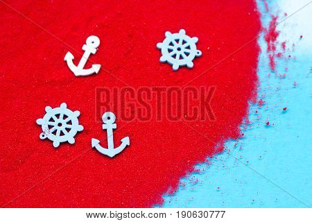 Decorative Anchor, Rudder, Decorative Ship On The Red Sand, Maritime Decor, Space For Text