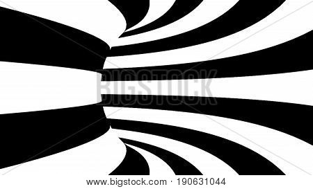 Black And White Hypnotic Tunnel. 3D Rendered