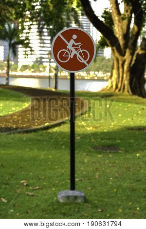 no bicycle red sign in Thailand park