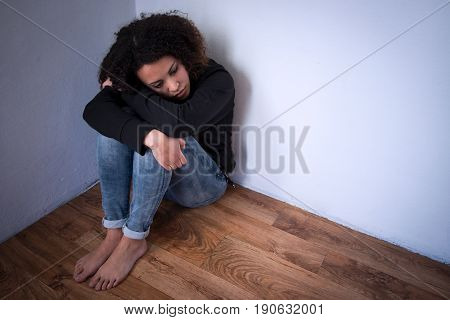 Sad And Lonely Young Girl Depressed