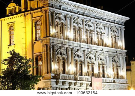Venice, Italy, May, 31, 2017: facade of an inhabitable house at night in Venice, Italy