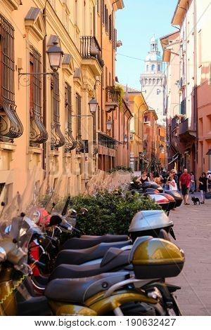 Bologna, Italy - May, 28, 2017: motorcycles parked in a center of Bologna, Italy