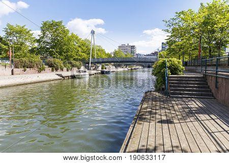 Ruoholahdenpuisto canal in the city center of Helsinki Finland