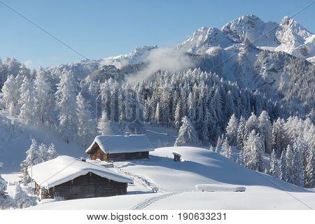 Beautiful winter scenery in the Austrian alps