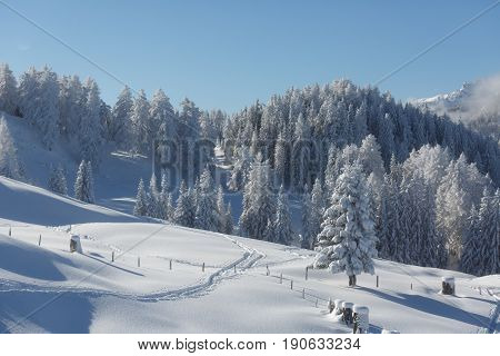Amazing winter scenery in the Austrian alps