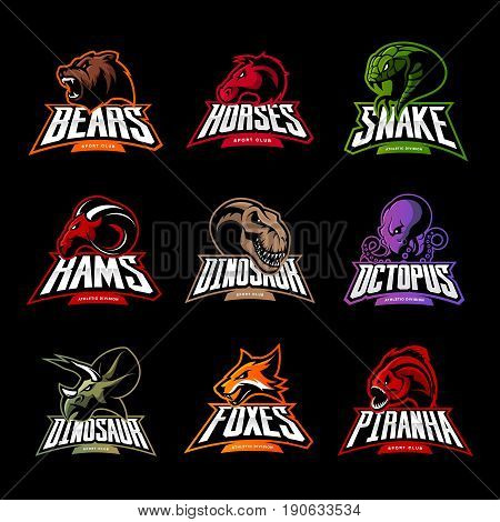 Bear, horse, snake, ram, fox, piranha, dinosaur, octopus head isolated vector logo concept.  Modern badge mascot design. Premium quality wild animal, fish, reptile t-shirt tee print illustration.