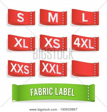 Size Label Fabric Vector. Realistic Set Bright Blank Fabric Labels Or Badges