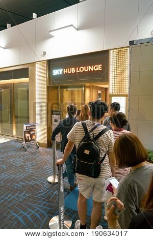 INCHEON, SOUTH KOREA - CIRCA JUNE, 2017: people stand in line to Sky hub lounge at Incheon International Airport.