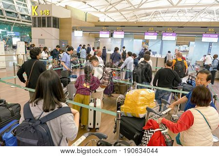 INCHEON, SOUTH KOREA - CIRCA JUNE, 2017: Qatar Airways check-in area at Incheon International Airport.