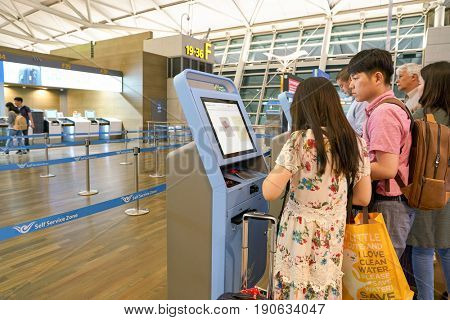INCHEON, SOUTH KOREA - CIRCA JUNE, 2017: self check-in kiosks at inside Incheon International Airport.