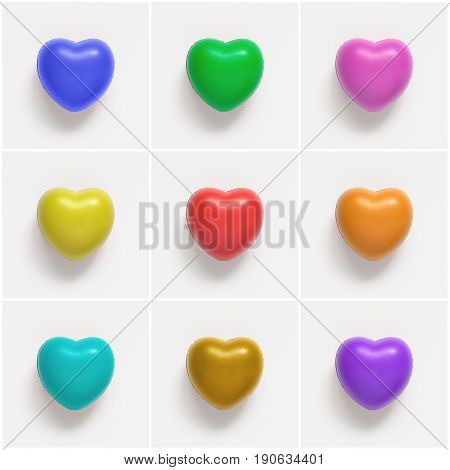 Collage of colorful heart shapes on white paper background