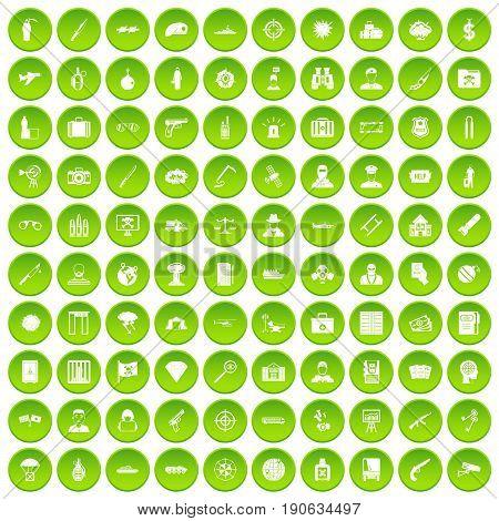 100 antiterrorism icons set green circle isolated on white background vector illustration