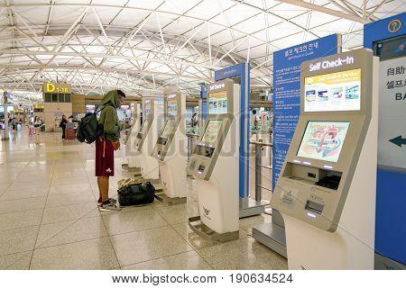 INCHEON, SOUTH KOREA - CIRCA JUNE, 2017: self check-in kiosks at inside Incheon International Airport.