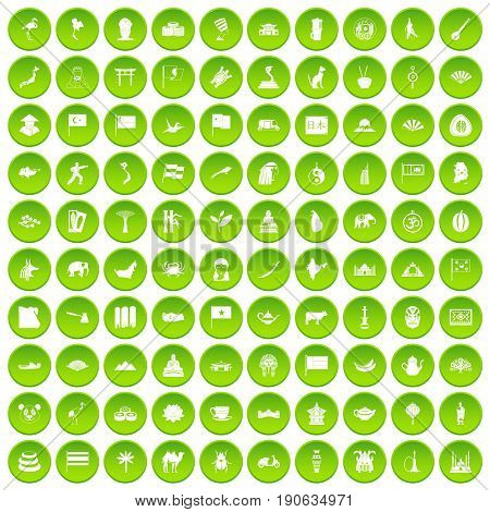 100 Asia icons set green circle isolated on white background vector illustration