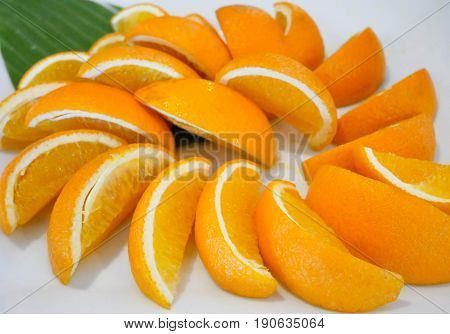 Orange fruit. Slice of piece on white background. Sweet and sour taste delicious.