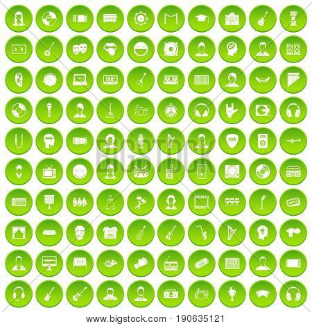100 audience icons set green circle isolated on white background vector illustration
