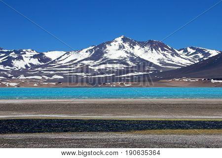 Beautiful Green Lagoon, Laguna Verde, near mountain pass San Francisco and Nevado Ojos Del Salado, Atacama, Chile, South America poster