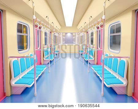 Train Cartoon Bright Interior