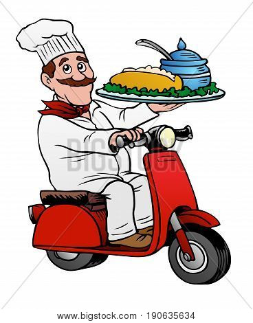 Gourmet delivery, fine food fast.  Chef on a scooter.