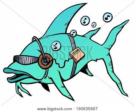 Deep sea fish listening to its favorite tunes