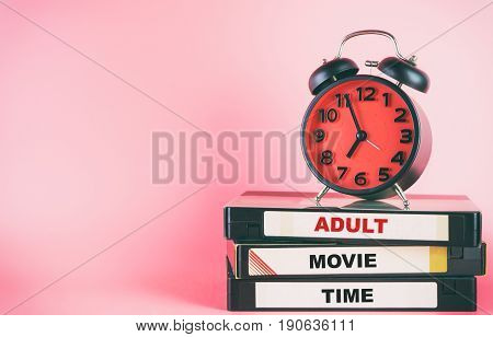 Adult Movie time on Sex Tapes with red clock