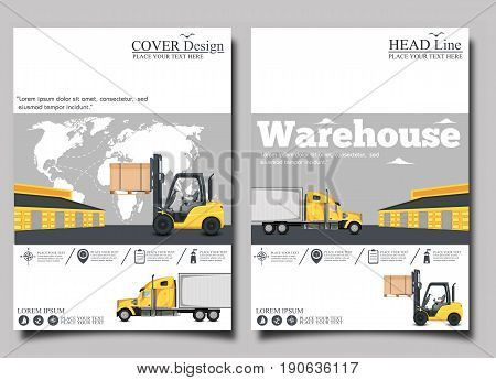 Warehouse banner with forklift truck vector illustration. Cargo logistics and delivery transportation. Yellow forklift truck with box, storehouse building, local or global shipment.