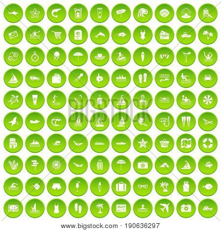 100 beach icons set green circle isolated on white background vector illustration