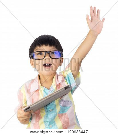 boy holding tablet raise his hand up isolated on white