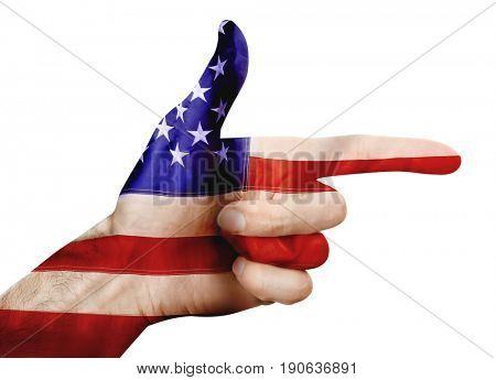 Double exposure of American flag and man making firearm gesture on white background. Gun control concept