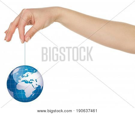 Woman holding globe on thread, white background. Concept of global leadership and geopolitics