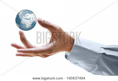 Man holding globe on white background. Concept of global leadership and geopolitics