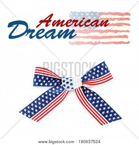 Text AMERICAN DREAM and festive bow on white background