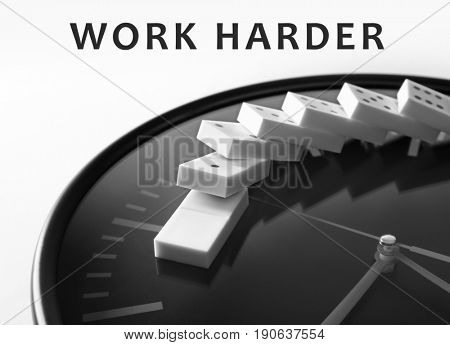 Clock with dominoes and text WORK HARDER on white background. Business concept