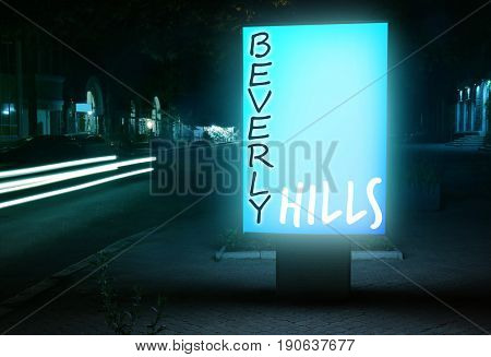 Citylight with BEVERLY HILLS inscription on street. Travel USA concept