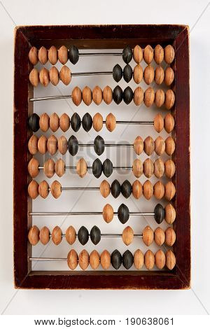 Vintage wooden abacus isolated. Account machine for calculation. Economics and budget.