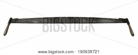 two-handed saw isolated on a white background