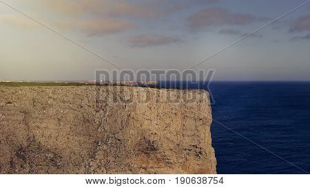 Atlantic ocean and cliffs in Sagres. Portugal Algarve