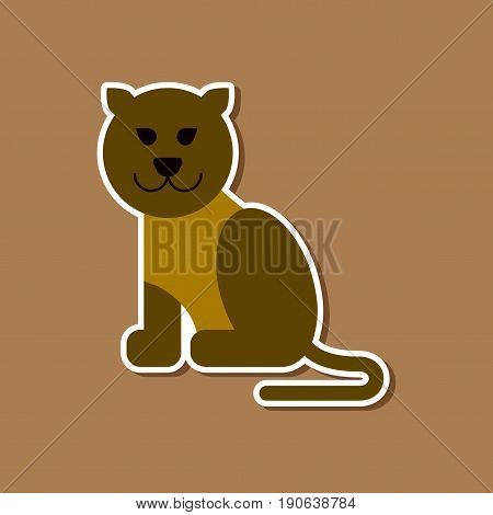 paper sticker on stylish background of cartoon panther