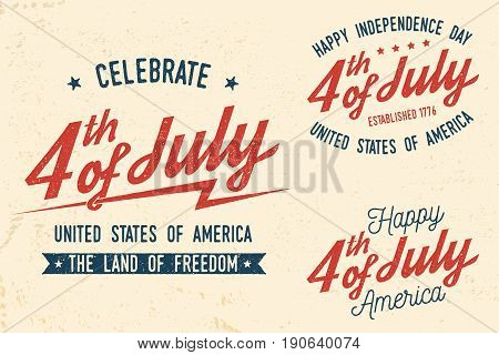 4th of july design in retro style. Fourth of July felicitation classic postcard. Independence day greeting card. Patriotic banner for website template. Vector illustration.