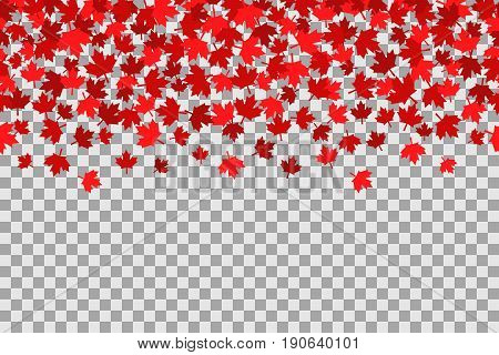 Seamless pattern with stars for 1st of July celebration on transparent background. Vector Illustration. Independence Day of Canada.