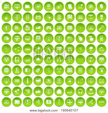 100 computer icons set green circle isolated on white background vector illustration